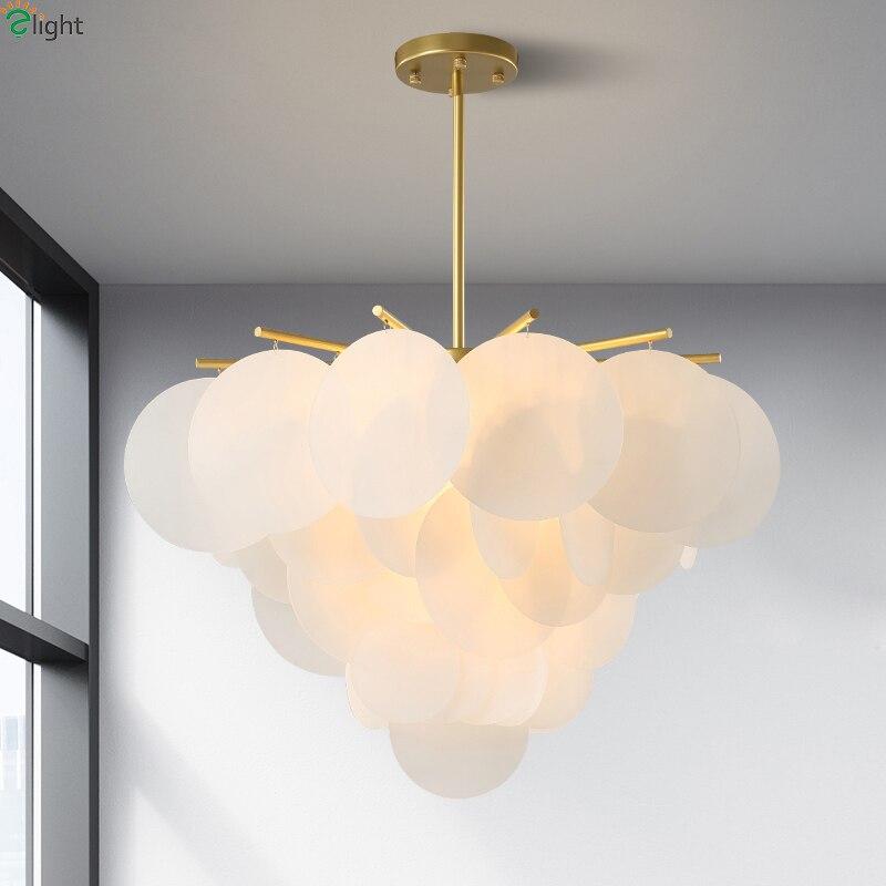Modern Acrylic Led Pendant Chandelier Lights Gold Metal Dining Room Led Chandeliers Lighting Living Room Hanging Light Fixtures