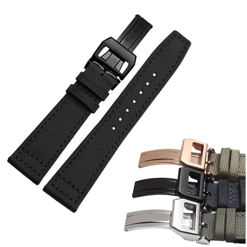 20mm 21mm 22mm Military Green Black Fabric Leather Strap Watch Band for IWC Pilot's Watches PORTUGIESER Portofino Family