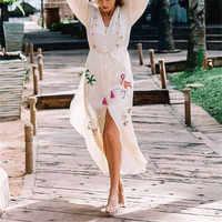 2019 nuevo bordado de algodón Vestido de Playa traje de baño cubierta de Saida de Praia Pareos de Playa Mujer Sarong Playa cubierta kaftan