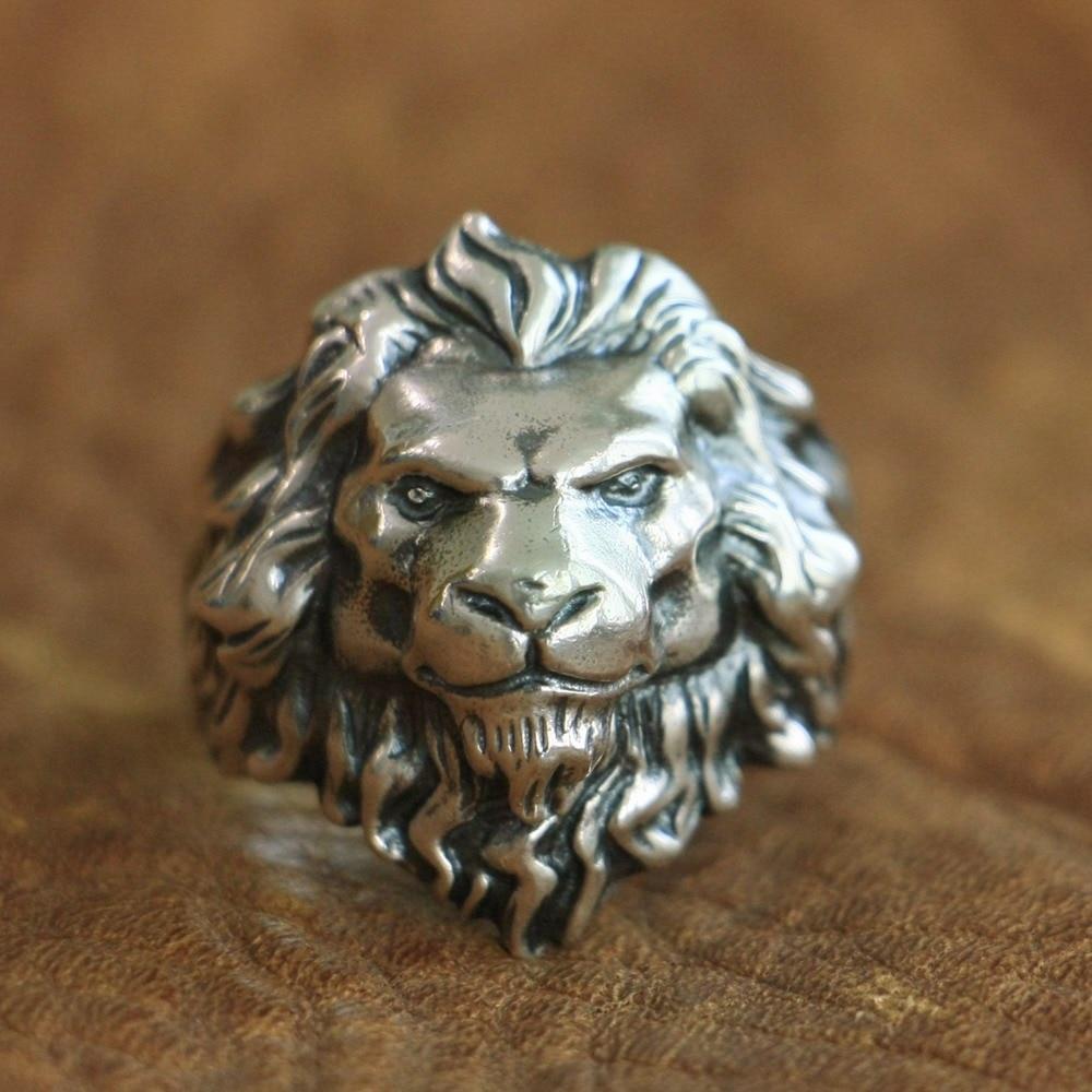 LINSION 925 Sterling Silver King of Lion Ring High Details Mens Biker Punk Ring TA109 US