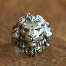 LINSION 925 argent Sterling roi de Lion bague haute détails hommes Biker Punk anneau TA109 taille américaine 7 ~ 15