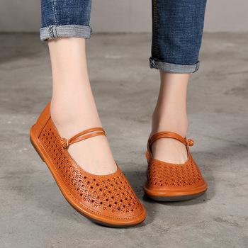 2018 VALLU Women Shoes Genuine Leather Ethnic Style Hollow Flats Lady Vintage Handmade Shoes Soft Flat Women Buckle Strap Shoes