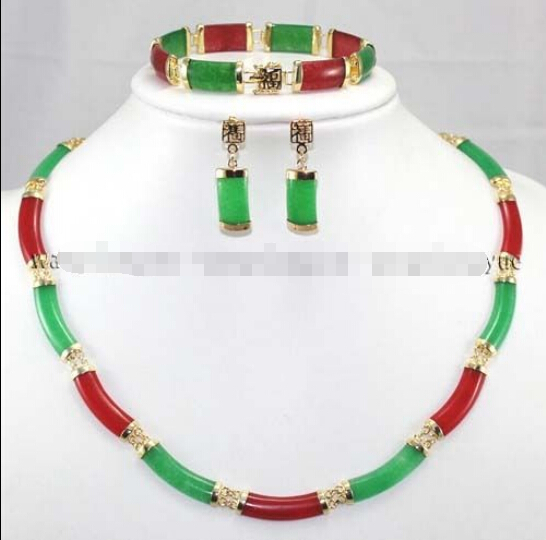 Free shipping@@@@@Real Red & Green Natural stone Link Necklace Bracelet earrings Set AAAFree shipping@@@@@Real Red & Green Natural stone Link Necklace Bracelet earrings Set AAA