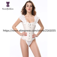 833# High quality shoulder straps corset Waist Slimming Appliques S-2XL Bodysuit embroidered steel boned corsets