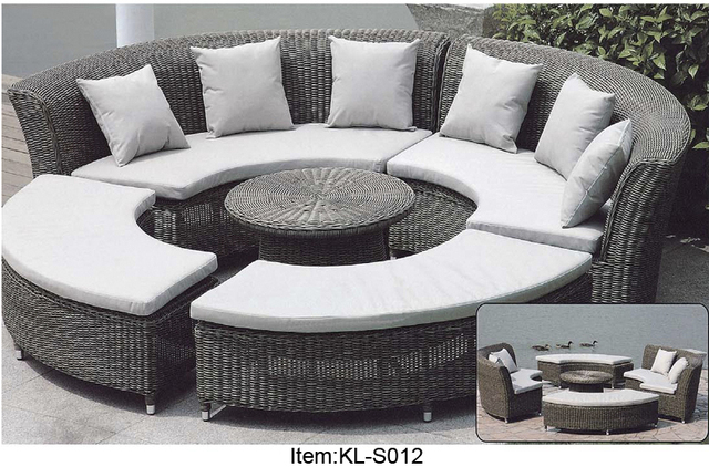 Outdoor Rattan Wicker Sofa Sectional Patio Furniture Set Leather With Left Facing Chaise Round Circular Home Design ...