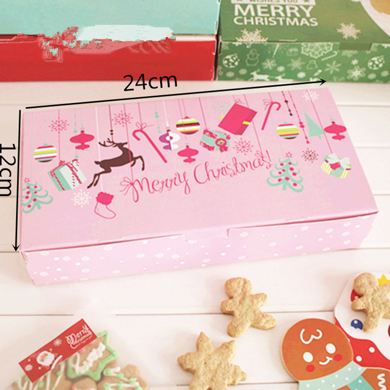 10 Pieces 24x12cm Pink Cookie Box Gift Box For Christmas Party