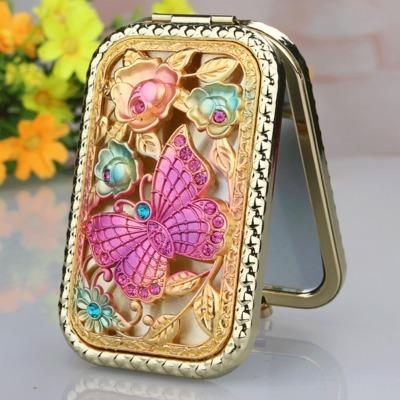 Arredondado retângulo liga mini dobrável portátil rosa borboleta dupla-face cosméticos/espelho de maquiagem (orange caixa de embalagem)