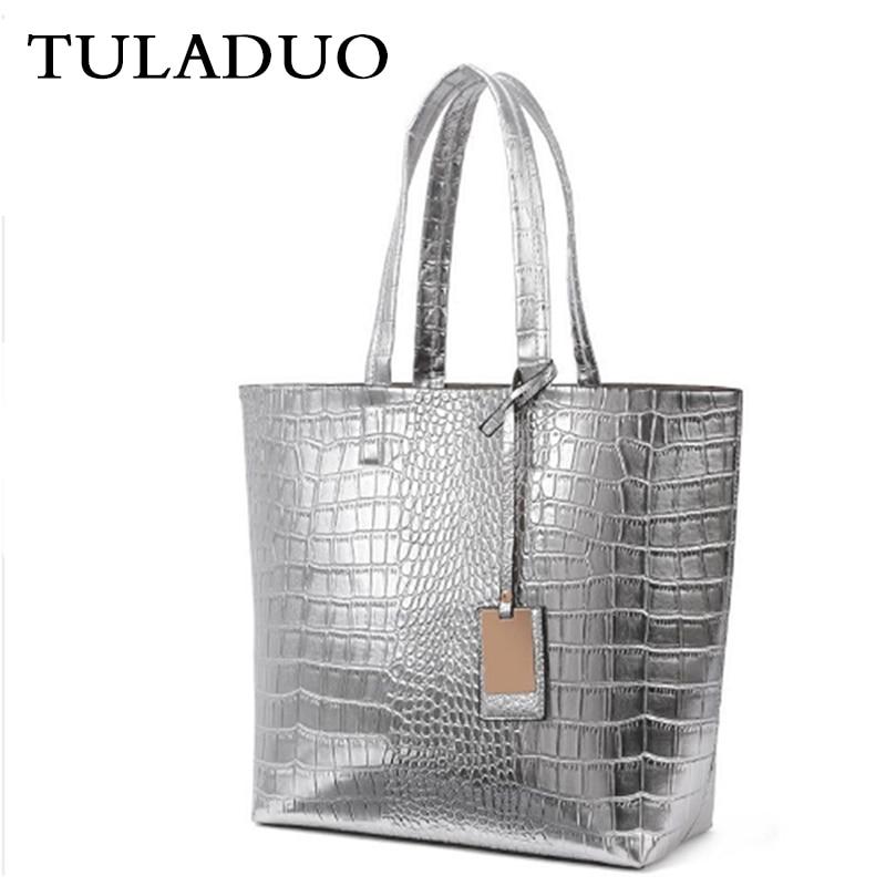 ФОТО Tuladuo Women Designer Handbags High Quality Alligator Sac a Main Vintage Famous Brand Shoulder Bag New Bolsos Feminina Sac Tote