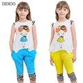 Девушки одежду хлопка свободного покроя спорта для девочек высокое качество детская одежда милый мультфильм дети костюм одежда для девочек