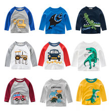 Kids Boys T Shirt Car And Dinosaur Print Long Sleeve Baby Girls T-Shirts Cotton Children's T-Shirt O-Neck Tee Tops Boy Clothes