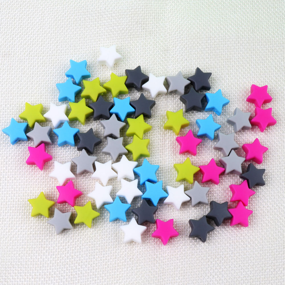 TYRY.HU 10pcs Silicone Beads Star 14mm DIY Teether BPA Free Beads Bracelet Food Grade Silicone Baby Teether