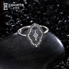 GOMAYA 925 Sterling Silver Sexy Lace Shape Vintage Elegant Clear CZ Big Ring For Women Luxury Fine Jewelry
