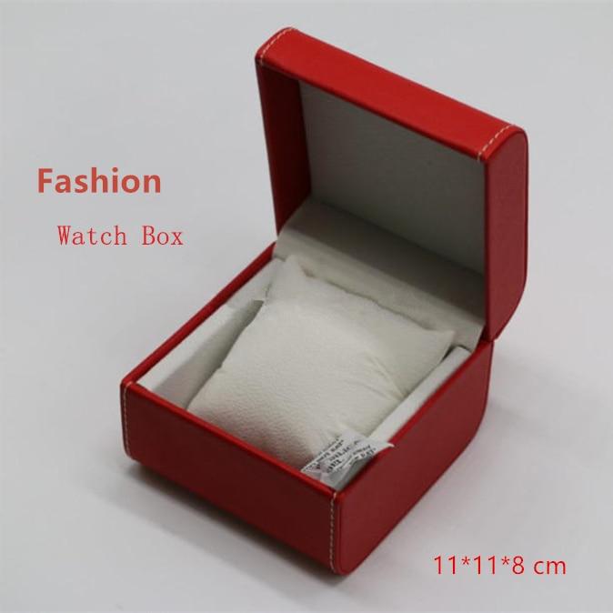 Ülemised punased kellakarbid nahkmaterjalist luksuslikud brändikellade hoiukasti ruudukujulised kella- ja käevõru kinkekarbid, ümbris W068
