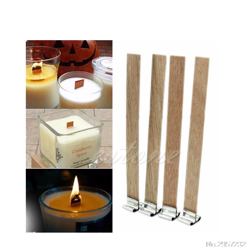Candles Candles & Holders The Best 10pcs 8mm X 90mm Candle Wood Wick With Sustainer Tab Candle Making Supply Dropship