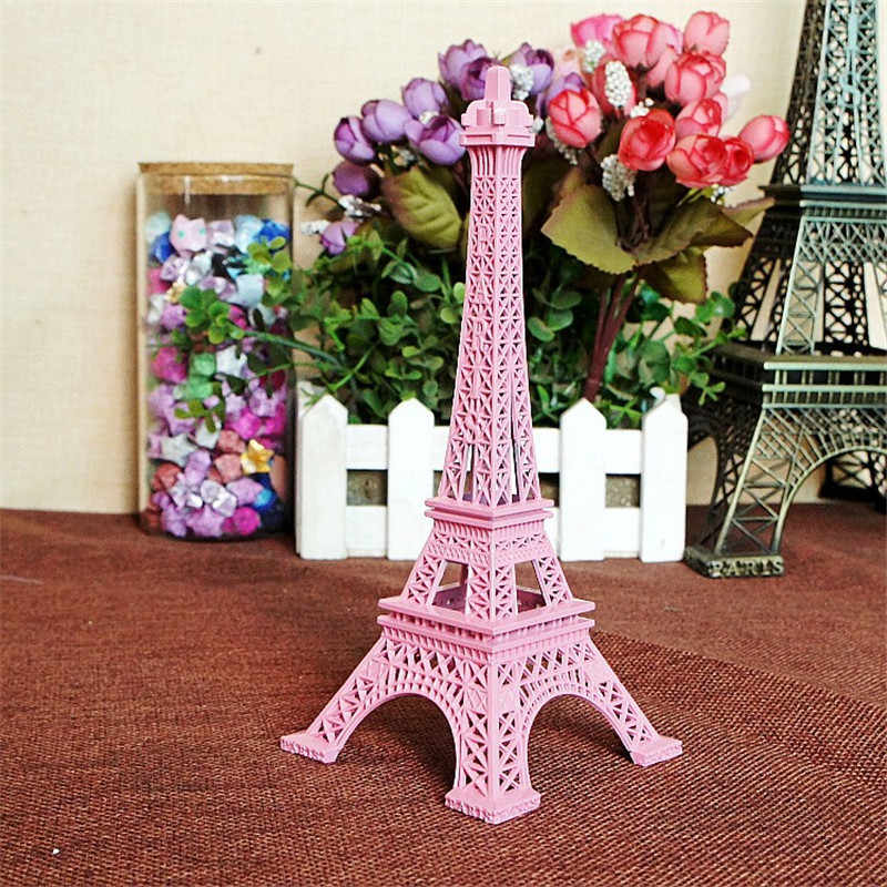 18cm Color Paris Eiffel Tower Metal Crafts Figurine Statue Europe Home Decors Souvenir Wedding Birthday Gift