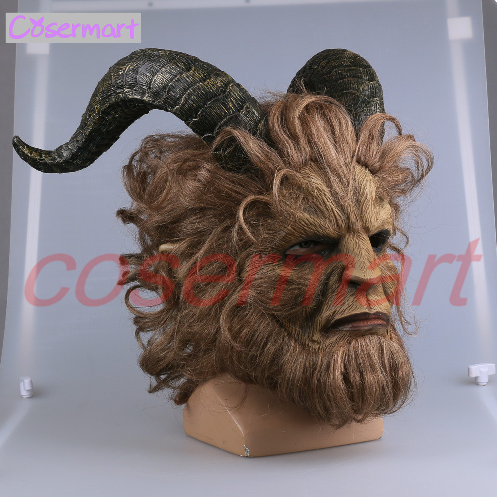 2017 Hot Movie Beauty and the Beast Adam Prince Mask Cosplay Horror Mask Latex Lion Helmet Halloween Party