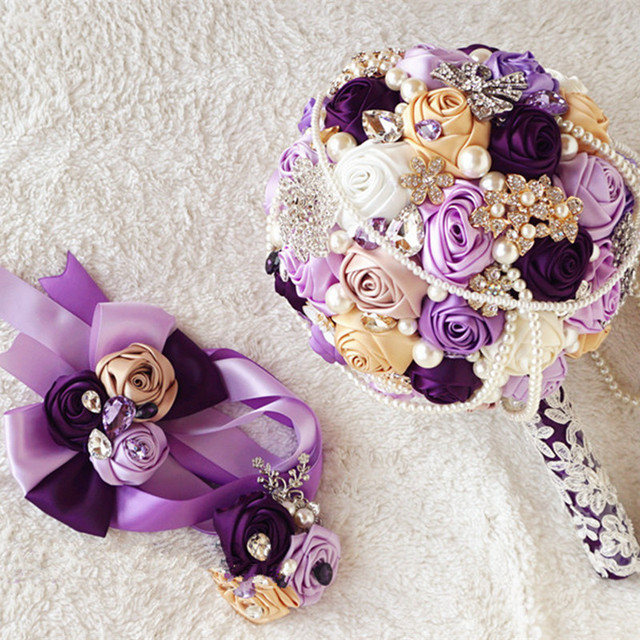 3pcs set Customized Bridal Wedding Bouquet With Pearl Beaded Brooch And Silk Roses,Romantic Wedding Colorful Bride 's Bouquet