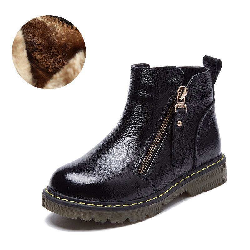 Boys Girls Snow Boots New 2019 Warm Winter Shoes Platform Kids Ankle Boot Genuine Leather Child Shoes Fashion Boots