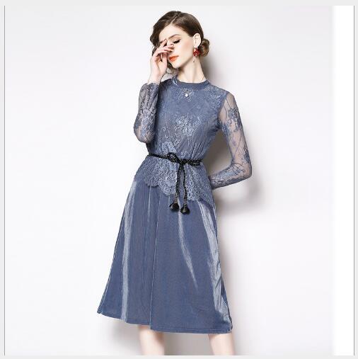 En Manteaux A À Robe Casual Mode Blue cou ligne Nouveau Fit Manches Longues Patchwork Dentelle 2019 Printemps Slim Creux O Lady Out Femmes vSUqgww