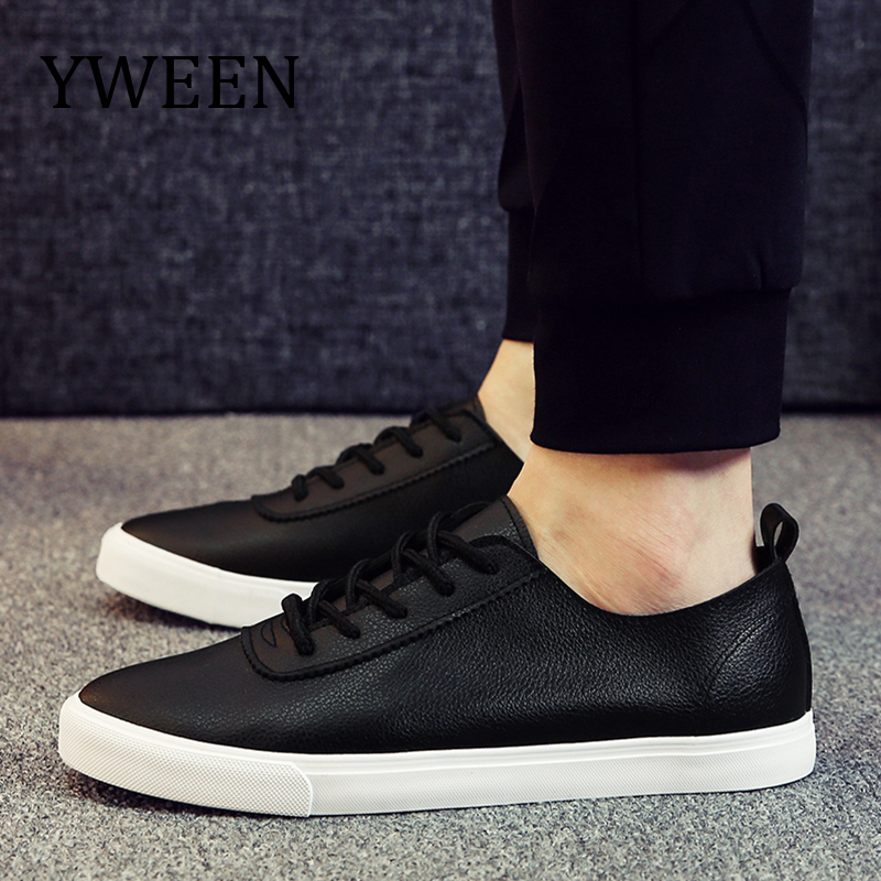 YWEEN Men's New Casual Shoes Men Leather Flats Lace-Up Shoes Simple Stylish Comfortable Soft Male Shoes stylish men s casual shoes with metal and lace up design