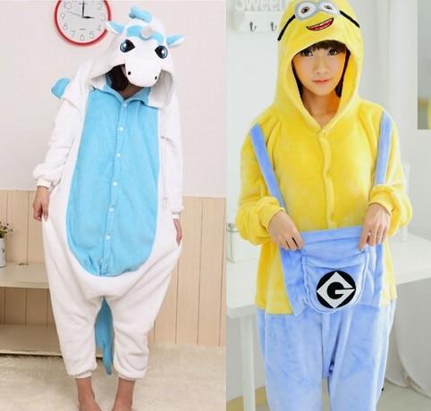 Femmes hommes animaux Cosplay bleu Fluffy Minion licorne Costume adultes licorne pyjamas Onesie(China (