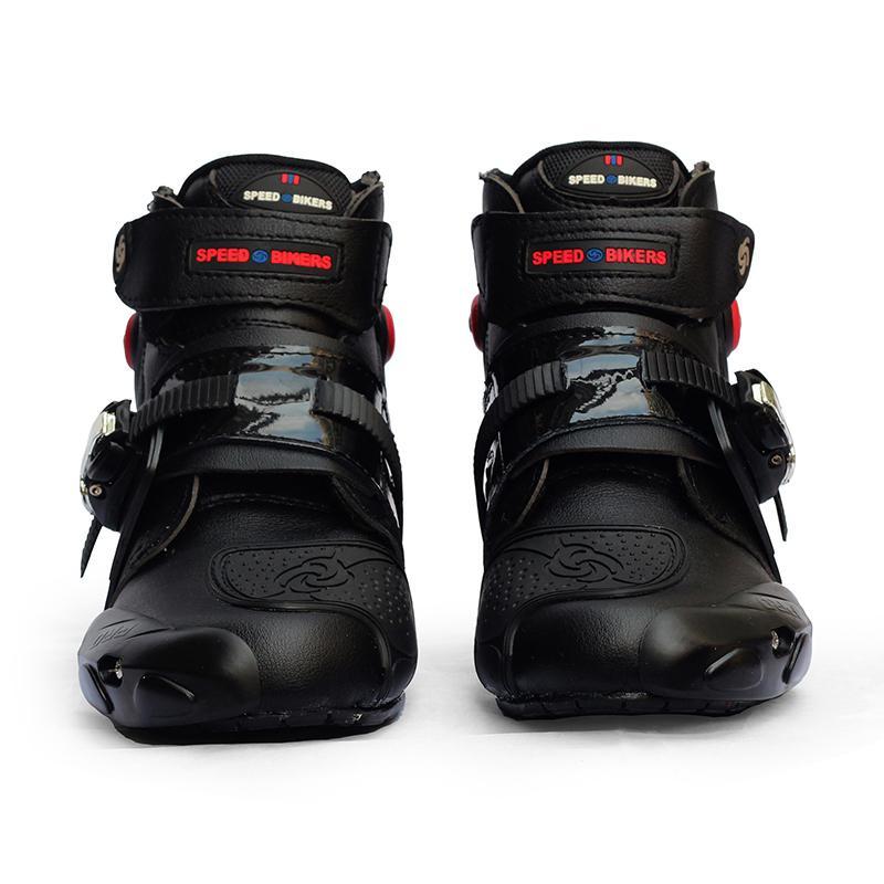 Unisexe Moto bottes Moto équitation course bottine hommes/femmes imperméable en cuir Motocross résistant à l'usure en caoutchouc chaussures protecteur