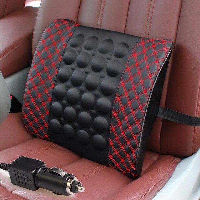 12V Electric car auto Massage Waist Seat Support  Massage Lumbar Support Car Interior Backrest High-end Auto Supplies PU
