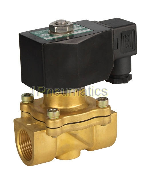 Free Shipping 1'' 2-Way Brass Solenoid Valve NBR Seals DIN Gas Air Water Oil Electric Pneumatic DC12V,DC24V,AC110V or AC220V free shipping ac220v ac110v dc12v 24v 1 4 3 8 1 2 3 4 1 electric solenoid valve pneumatic valve for water oil air gas