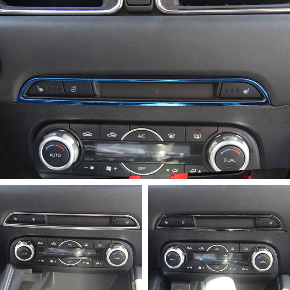Car <font><b>Accessories</b></font> Middle CD Console Dashboard Trim Sticker for <font><b>Mazda</b></font> <font><b>CX</b></font>-<font><b>5</b></font> CX5 2017 <font><b>2018</b></font> 2019 Frame Cover <font><b>Interior</b></font> Decoration image