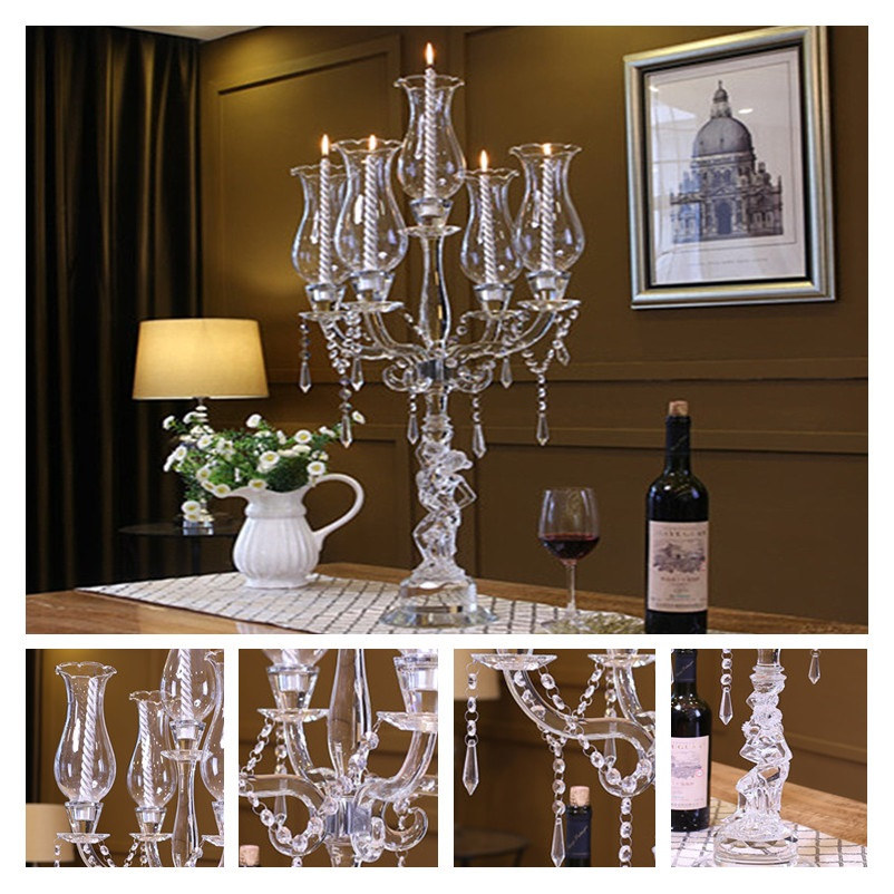 5 Arms Crystal Pillar Candle Holders Candlestick Wedding Decoration Stand Mariage Home Decor Candelabra in Candle Holders from Home Garden