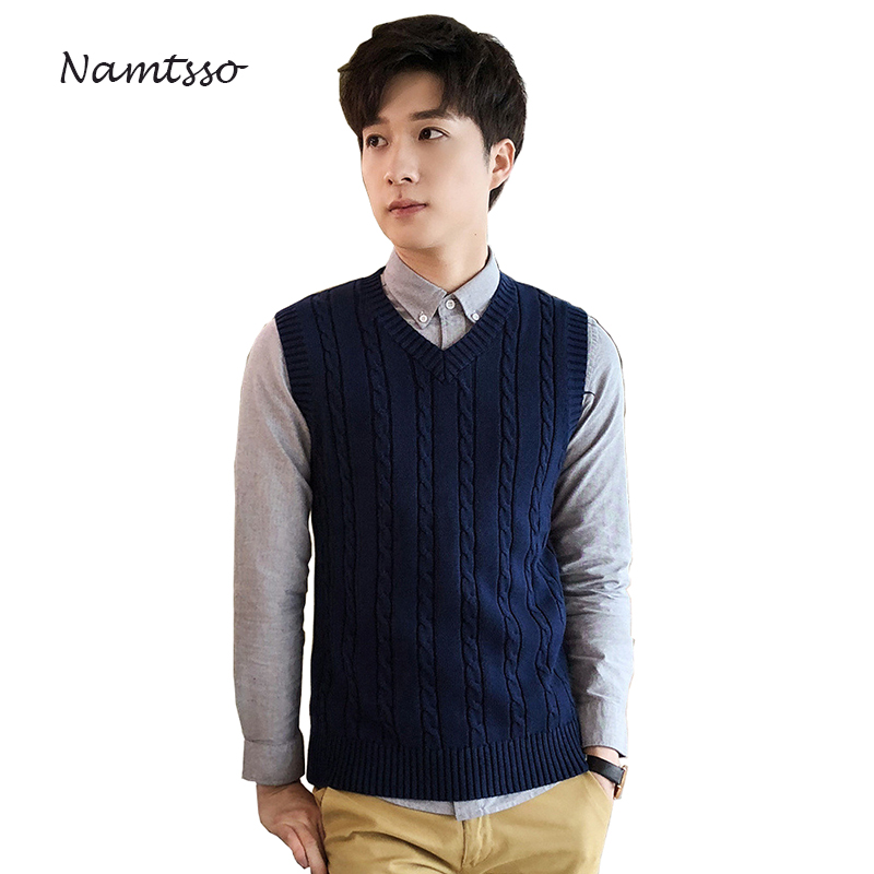 100% Cotton Vest Men Winter Thick Coarse Wool Turtleneck V-neck Sleeveless Sweater Knitwear Pull Brand Base Top Clothing 823