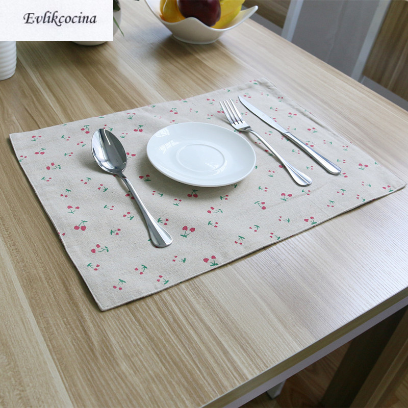 Free Shipping Small Cherry Placemat Dining Table Coaster Cloth Insulation Coffe Tea Cup Pad Kitchen Mantel Individual For Table