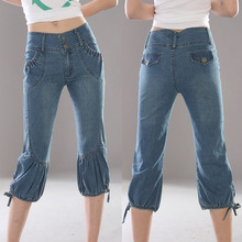 free shipping spring summer autumn elastic capris mid waist jeans casual capris plus size female trousers shorts women pants
