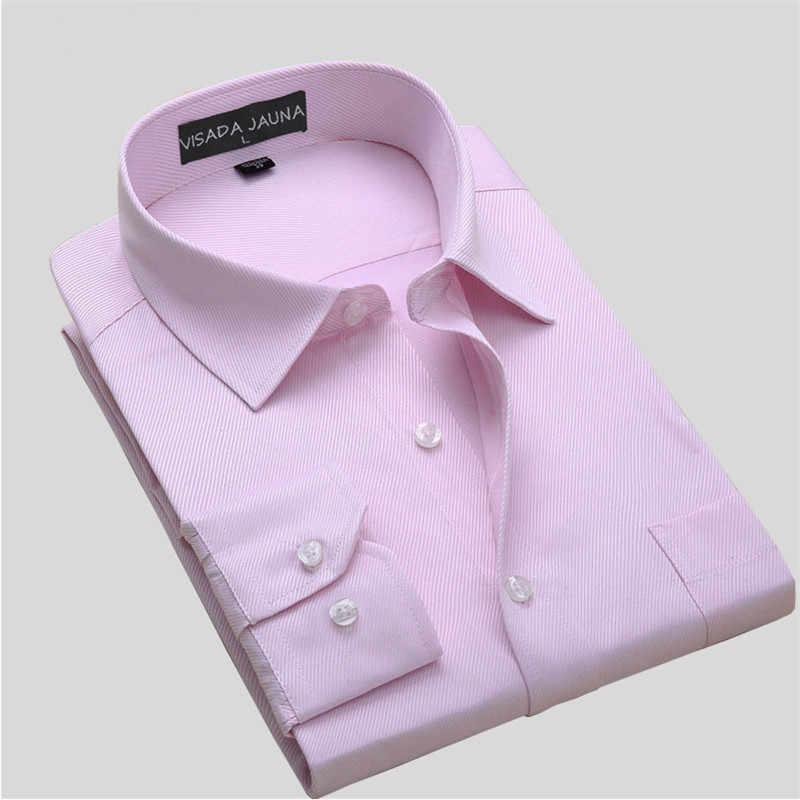 VISADA JAUNA ビジネスメンズシャツ男性シャツ長袖カミーサソーシャル Masculina 綿ブランドの服プラスサイズ 8XL N759