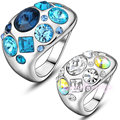 Mytys Multi-color Crystal Ring for women Unique Style  free shipping on sale R843R844