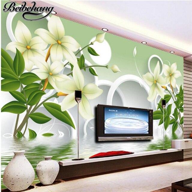 Beibehang Benutzerdefinierte fresco tapete 3d grün weiß blume ...