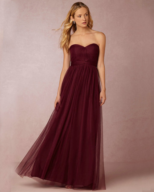 Annabelle Rose Shadow Grey Wine Colored Bridesmaids Dresses Tulle Floor Length Sweetheart Burgundy Bridesmaid Long