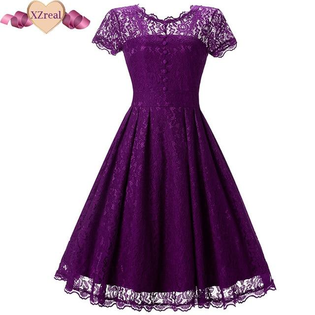 2017 Vintage Tunic Lace Dress Female Robe Casual 1950s Rockabilly Short Cap Sleeve V-Back Swing Summer Dresses Vestido de festa