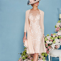 2019 Champagne Lace Mother of the Bride Dresses with Chiffon Jacket 3/4 Sleeves Applique Women Formal Evening Party Gowns