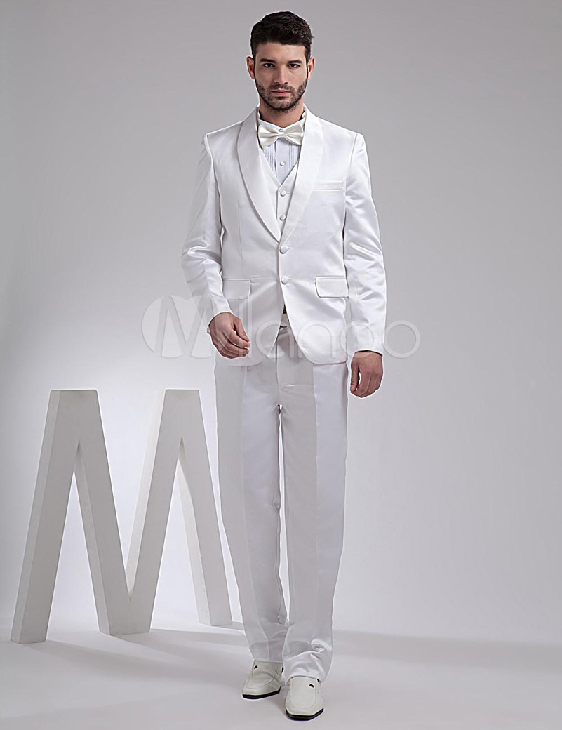 European Style Shiny White Chawl Lapel Two Buttons Wedding Groom ...