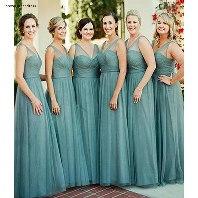 2019 Long   Bridesmaid     Dress   V Neck Western Summer Country Garden Formal Wedding Party Guest Maid of Honor Gown Plus Size
