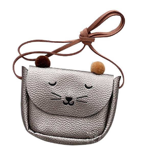 Детская сумка через плечо, маленькая сумка-мессенджер с кошачьими ушками, простая маленькая квадратная сумка для детей, универсальная Сумочка для монет, милые сумочки для принцесс - Цвет: Silver gray