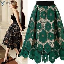 Hxjjp primavera verão gaze peng peng saia casual imprimir joelho comprimento a linha moda feminina bordado saia de renda saia de festa