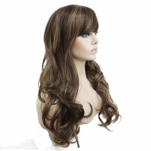 Image 5 - Strongbeauty女性の合成ロングかつらレイヤードストレート髪ダークブラウンブロンドのハイライトとキャップレスかつら