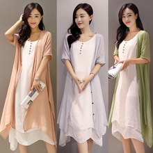 Summer Dress Womens 2019 New Retro Elegant Two-piece Fashion Casual Cotton Linen Clothes Woman Loose Beach Style Mid-calf
