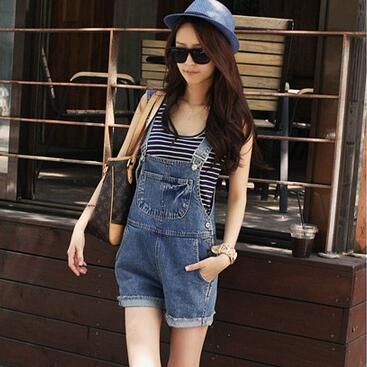 Women Fashion New Denim Suspender Shorts Female Summer Loose Slim Cute Overalls Denim Shorts