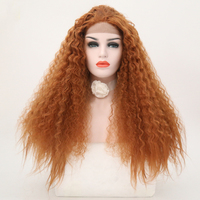 RONGDUOYI 180 Density Afro Curly Wigs Orange Color Synthetic Lace Front Wigs With Baby Hair Free Part Heat Resistant Wig Women