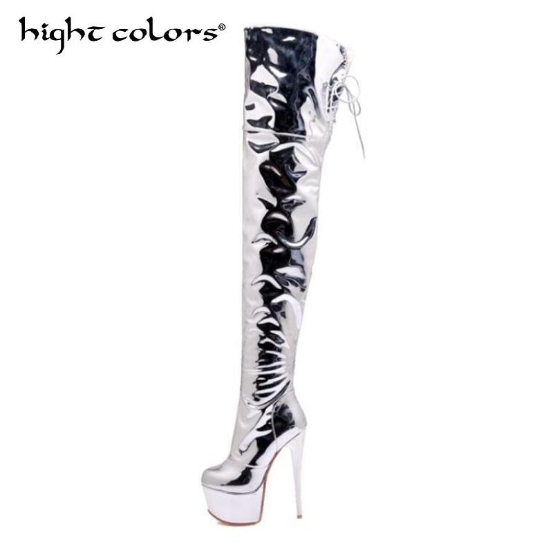 Sliver Women High Heels Tall Boots Sexy Patent Platform High Heeled Over The Knee Boots For Ladies Pole Dancing Boots Size 34-48 women boots sexy ladies high heels tall boots patent leather platform shoes over the knee boots for women red pole dancing boots
