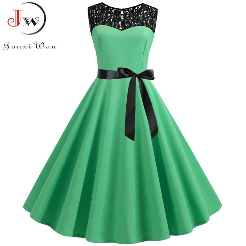 Summer Lace Dress Robe Femme Women 2020 Elegant Vintage Party Dress Casual Office Ladies Work A Line Midi Dress Plus Size 3