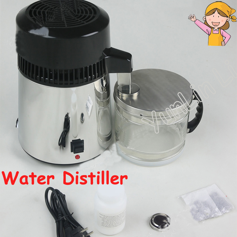 Stainless Steel Water Distiller 110V/220V Household Distilled Water Machine 1L/H Medical Water Filter Equipment cukyi household electric multi function cooker 220v stainless steel colorful stew cook steam machine 5 in 1